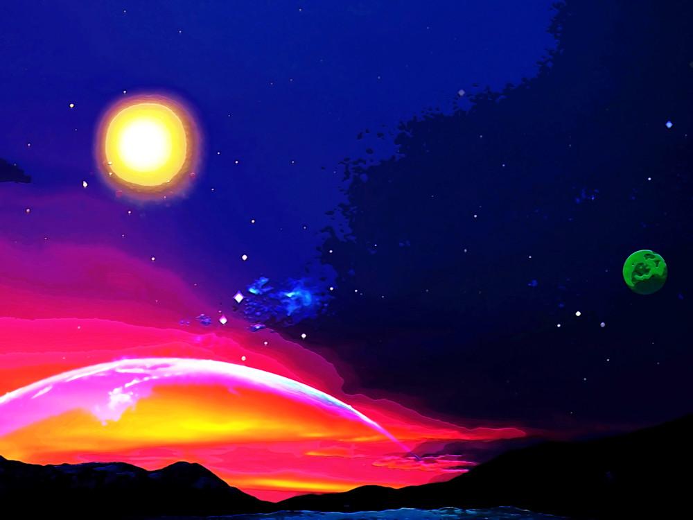 Green Moon Planet Art   Don White-Art Dreamer