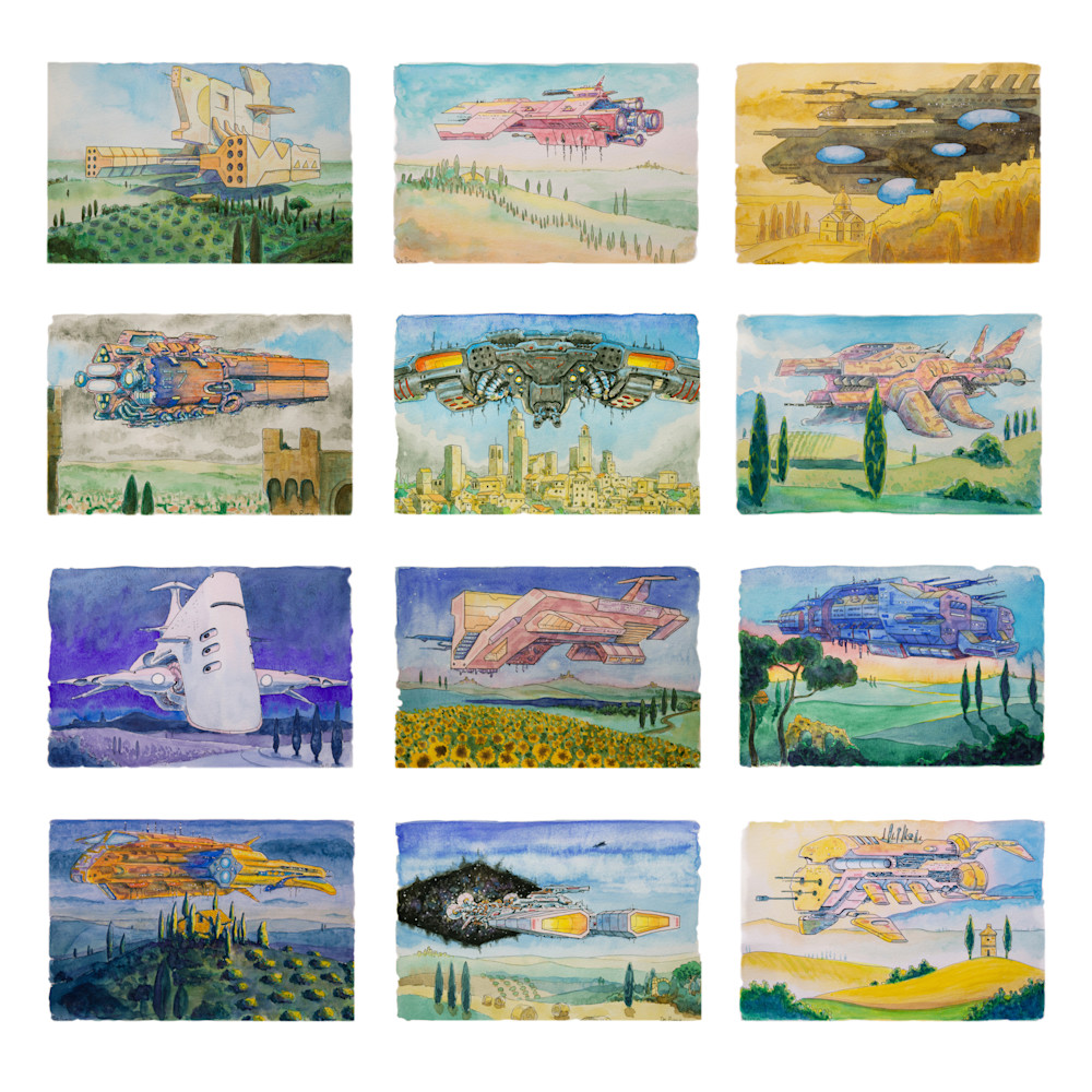Battle Cruisers of Tuscany, watercolor