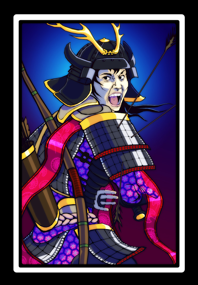 Warrior Ace card, screaming samurai