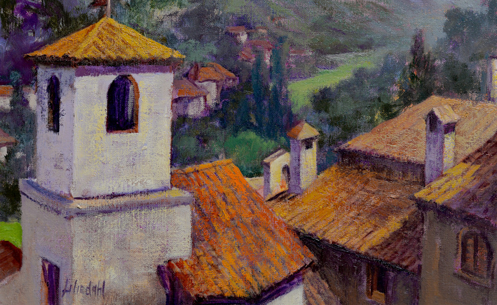 Italian Hilltown Rooftops Art   Liliedahl Art