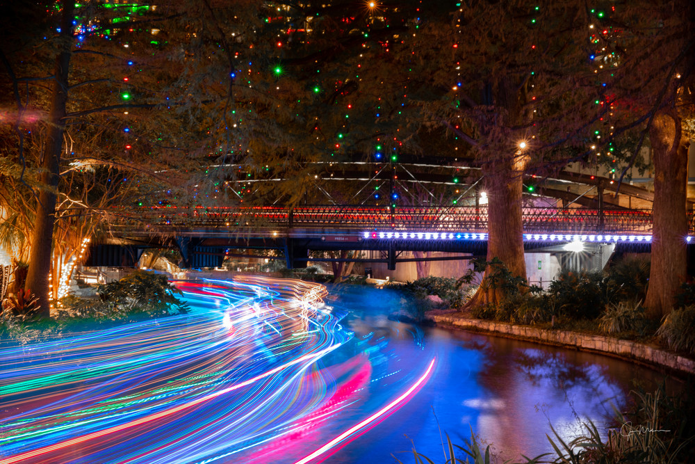 Merry and bright Christmas lights on the San Antonio River Walk.