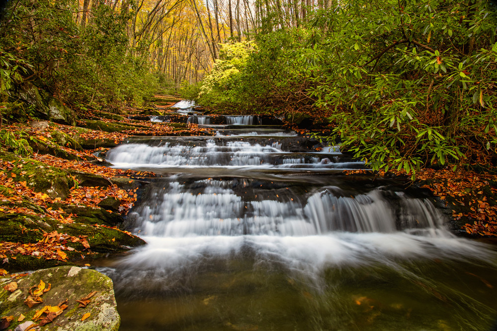 Meadow Branch Stairway - Smoky Mountains waterfalls photography prints