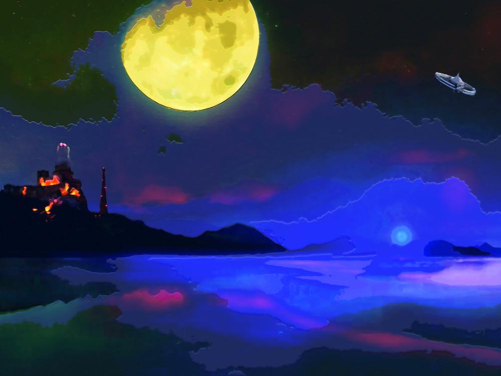 Green Moon Planet  Art | Don White-Art Dreamer