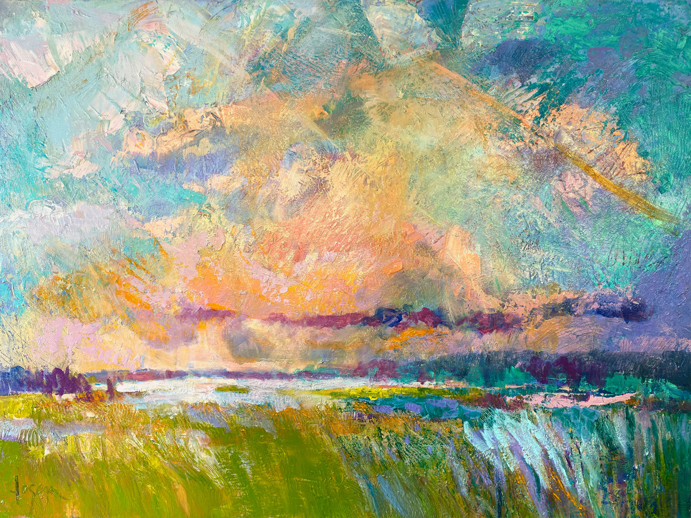 Large Oversize Beautiful Marsh Painting by Dorothy Fagan