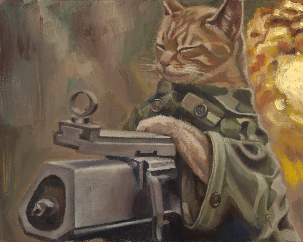 art of cat with machine gun