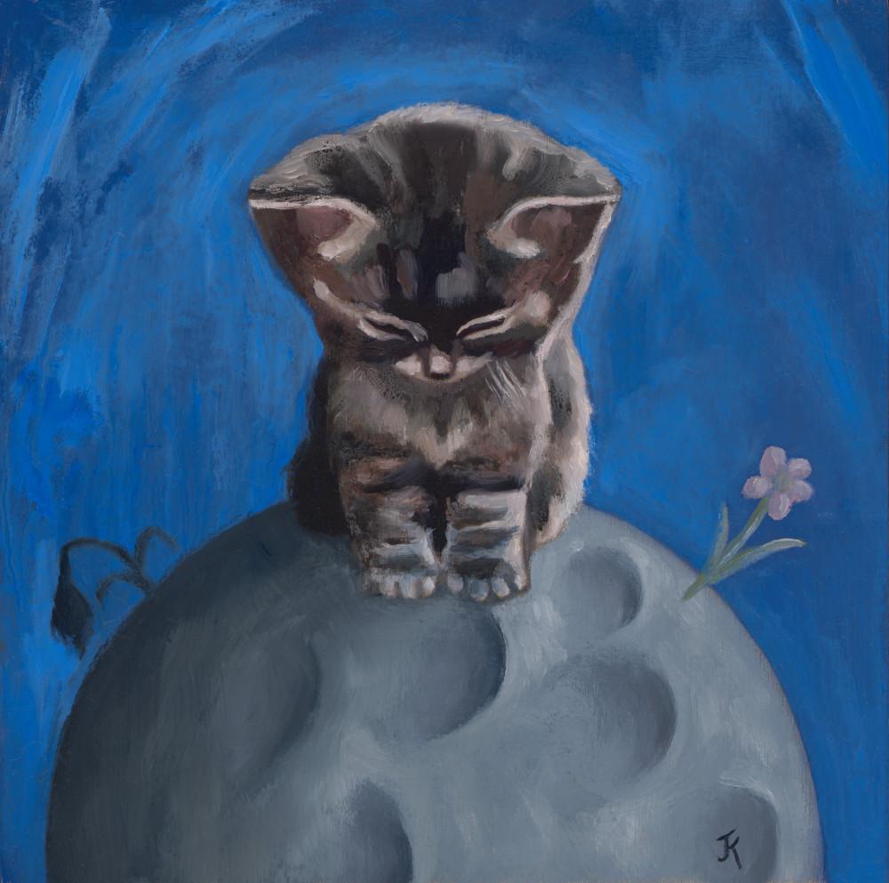 art of kitten on moon