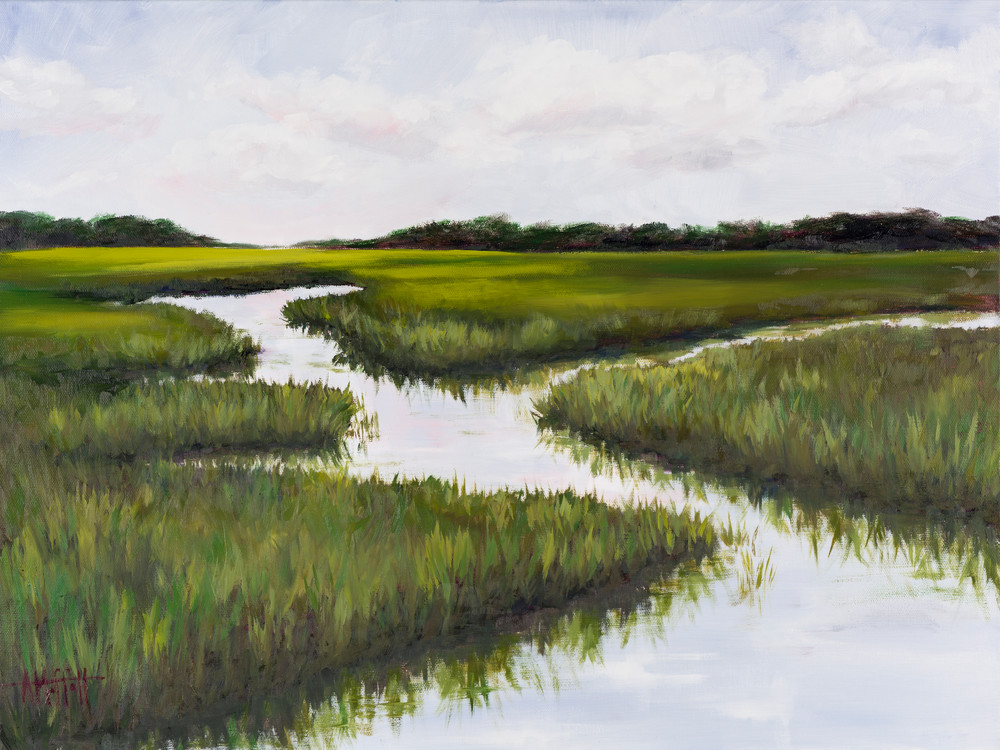 Giclee Print Green Summer Marsh in the Lowcountry by April Moffatt