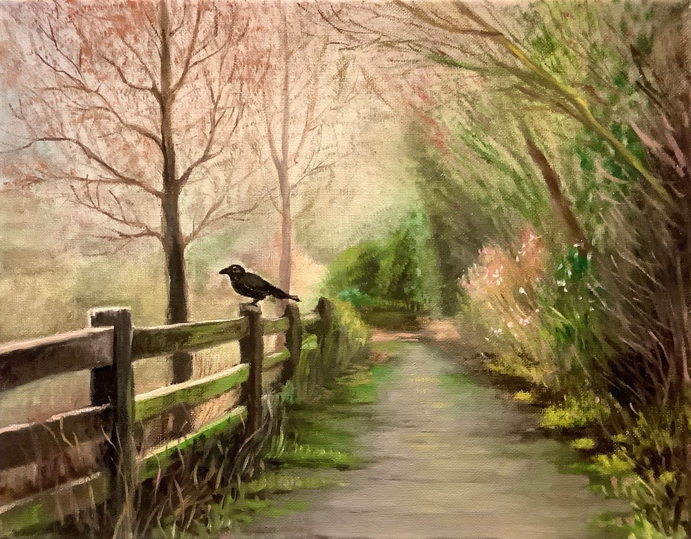Crow in the Mist Fine Art Gallery Print by American Artist Hilary J England
