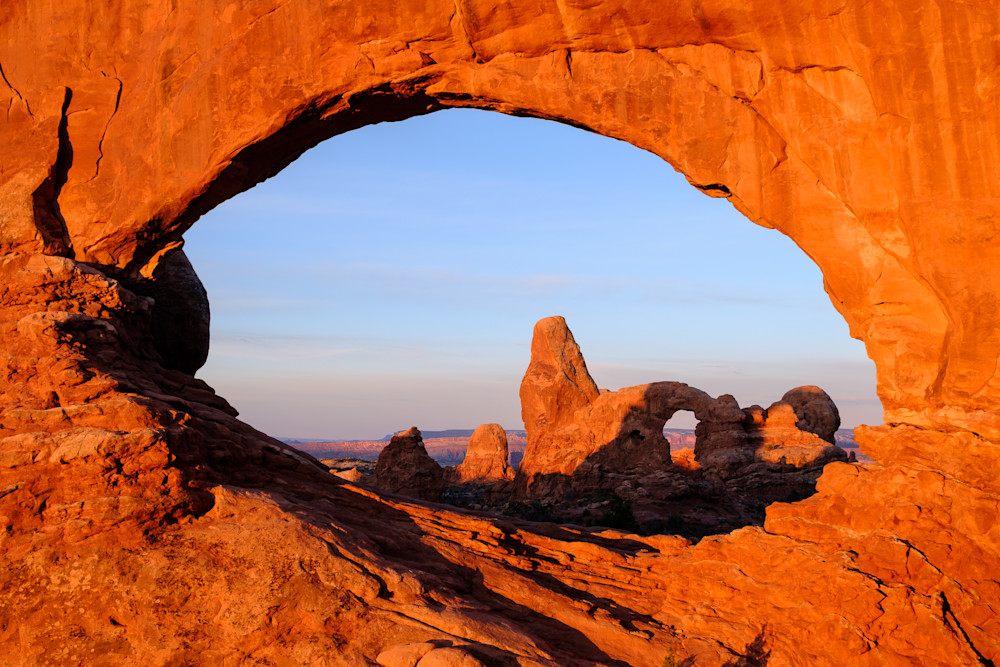 Sunrise at North Window in Arches National Park, Moab, Utah USA