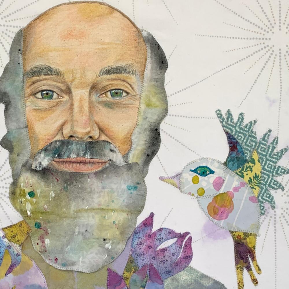 Ram Dass and Bird art