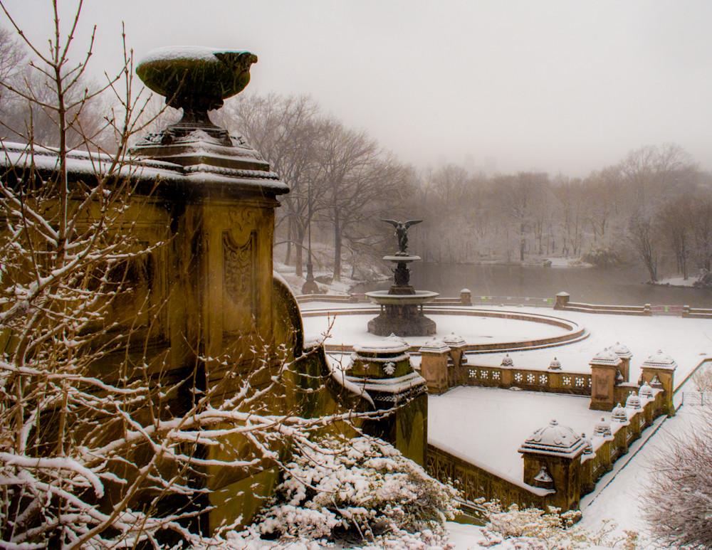 Bethesda Fountain In Snow #2  Photography Art   Ben Asen Photography