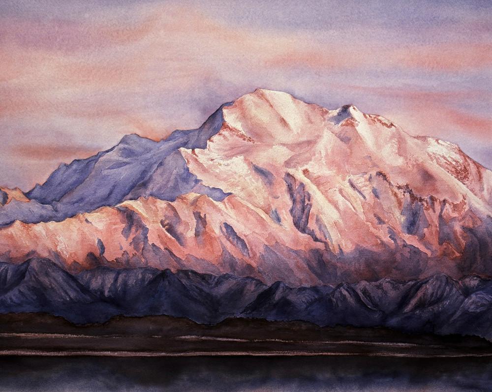 Denali Alpenglow Alaska Art Print by Amanda Faith Thompson