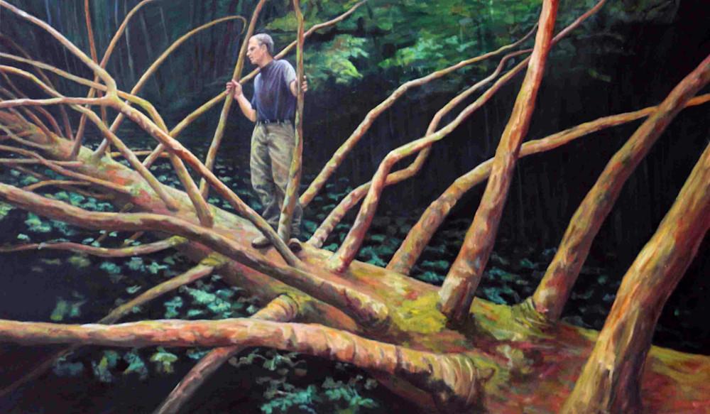 Man On A Fallen Tree Art   Lidfors Art Studio