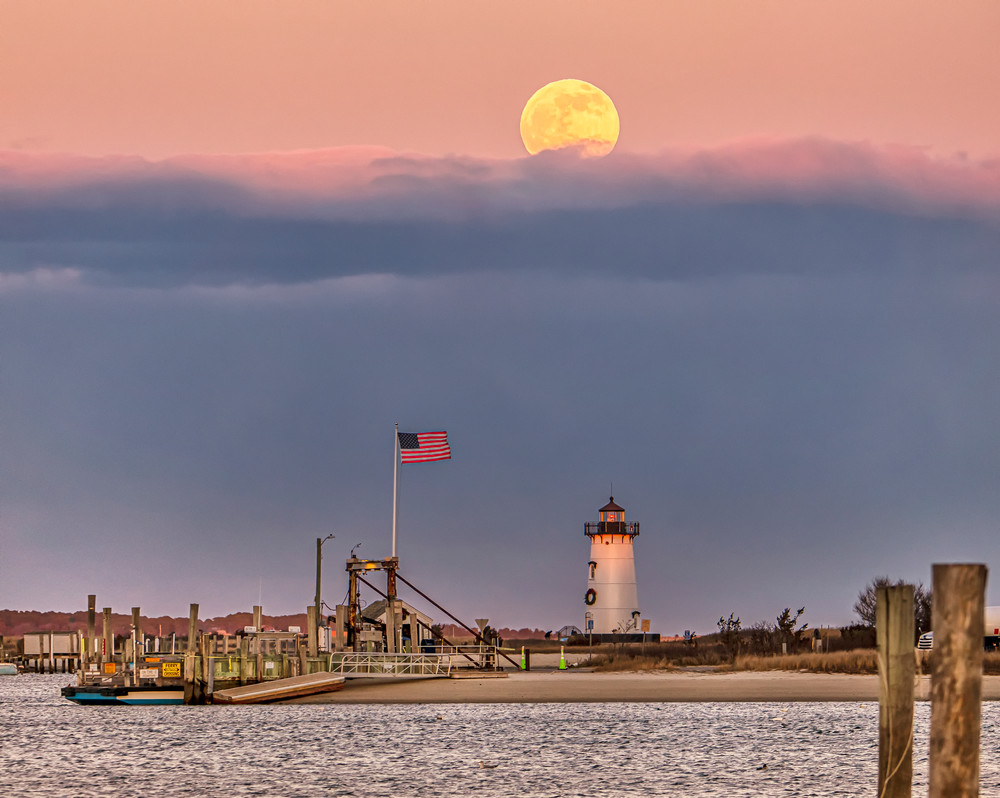 Edgartown Light  Cold  Moon And Flag Art | Michael Blanchard Inspirational Photography - Crossroads Gallery
