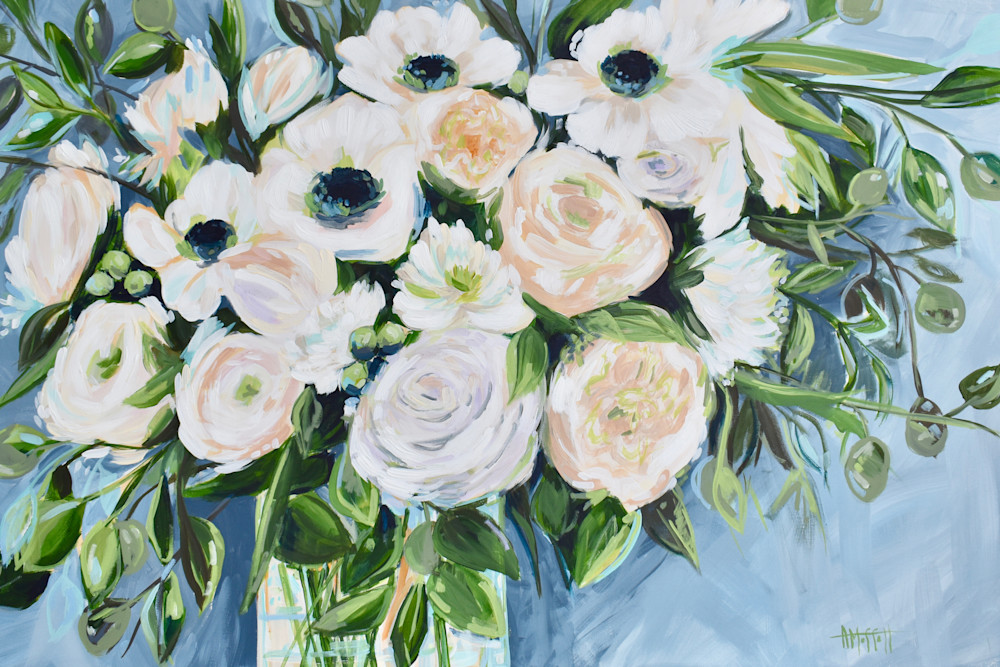 Giclee Print White Peonies and Poppies Floral Art by April Moffatt