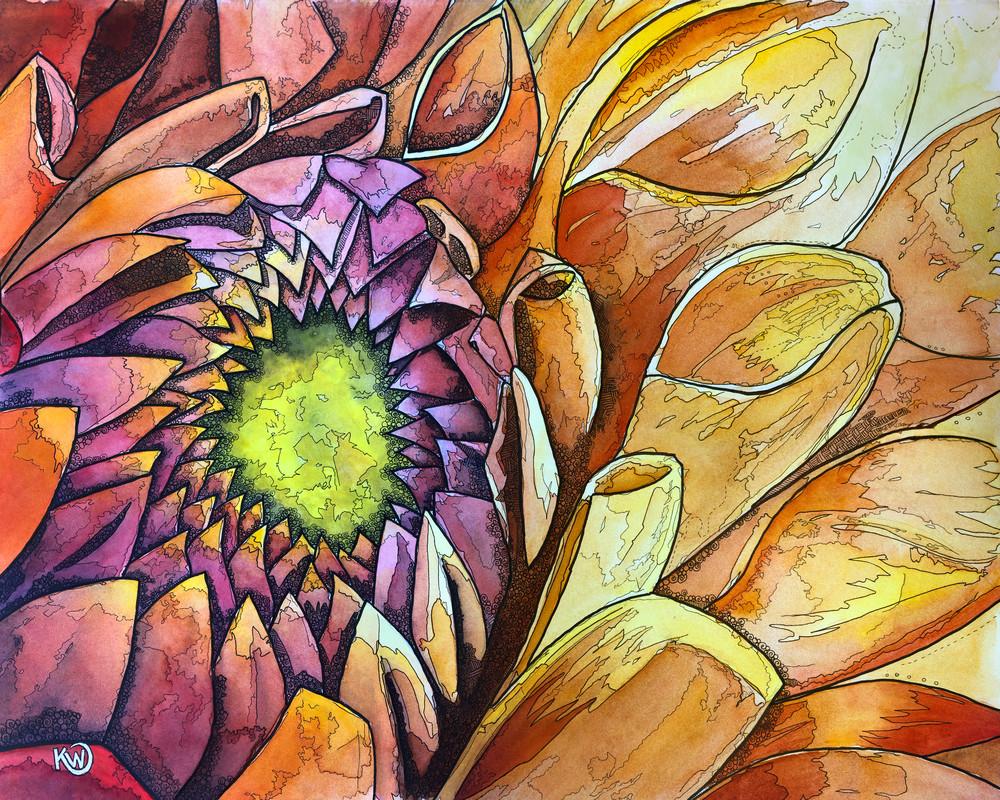 Golden Dahlia Art | Water+Ink Studios