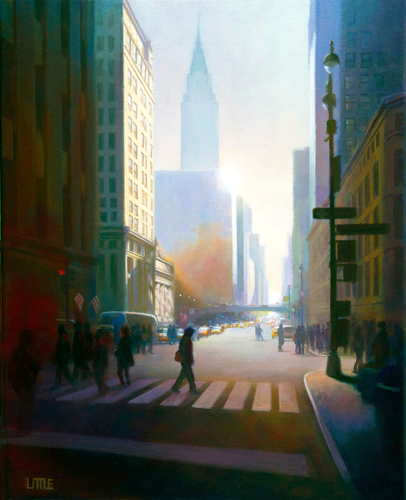 'Early Risers' print of cityscape painting by Ed Little, Bridgewater, CT