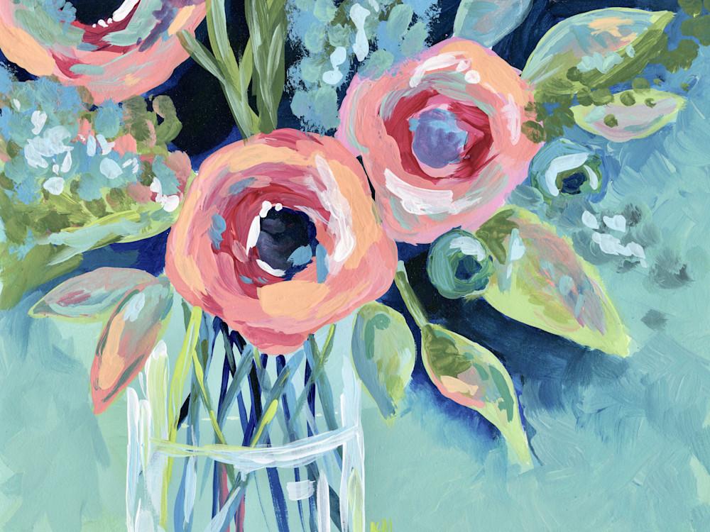 Giclee Art Print Flowers in a Mason Jar Aqua