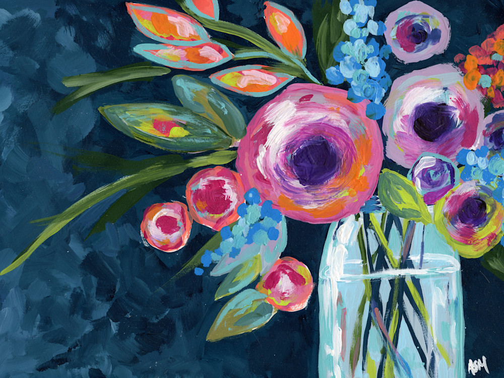 Giclee Art Print Flowers in a Mason Jar Indigo