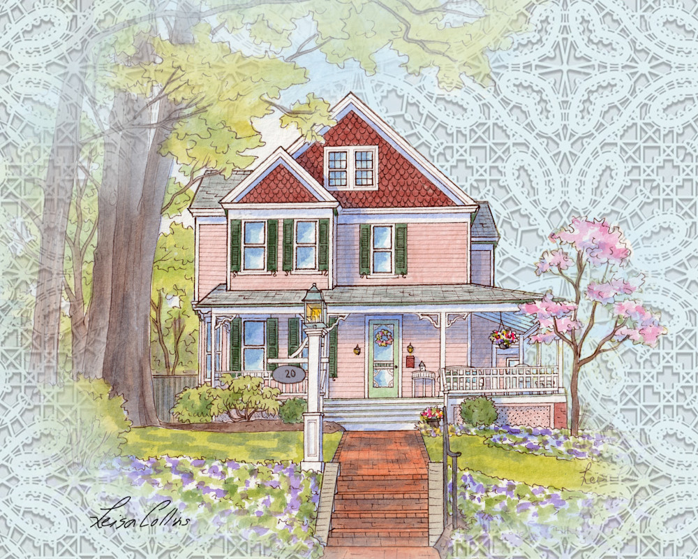 Vintage Victorian Home On Lace Collage Art | Leisa Collins Art