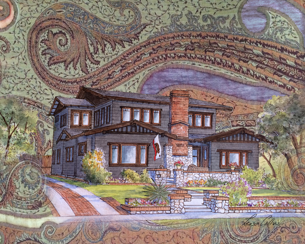 Craftsman Home On Handwoven Backdrop Collage Art | Leisa Collins Art