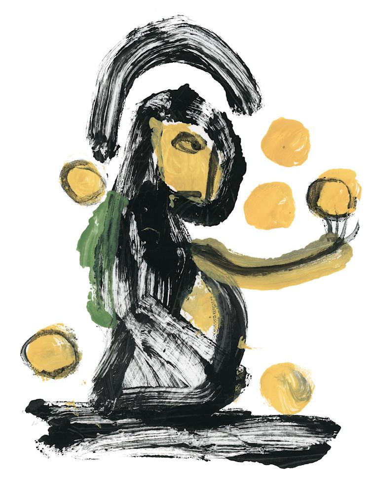 Blot-art painting print of a juggler by Marsha Carrington