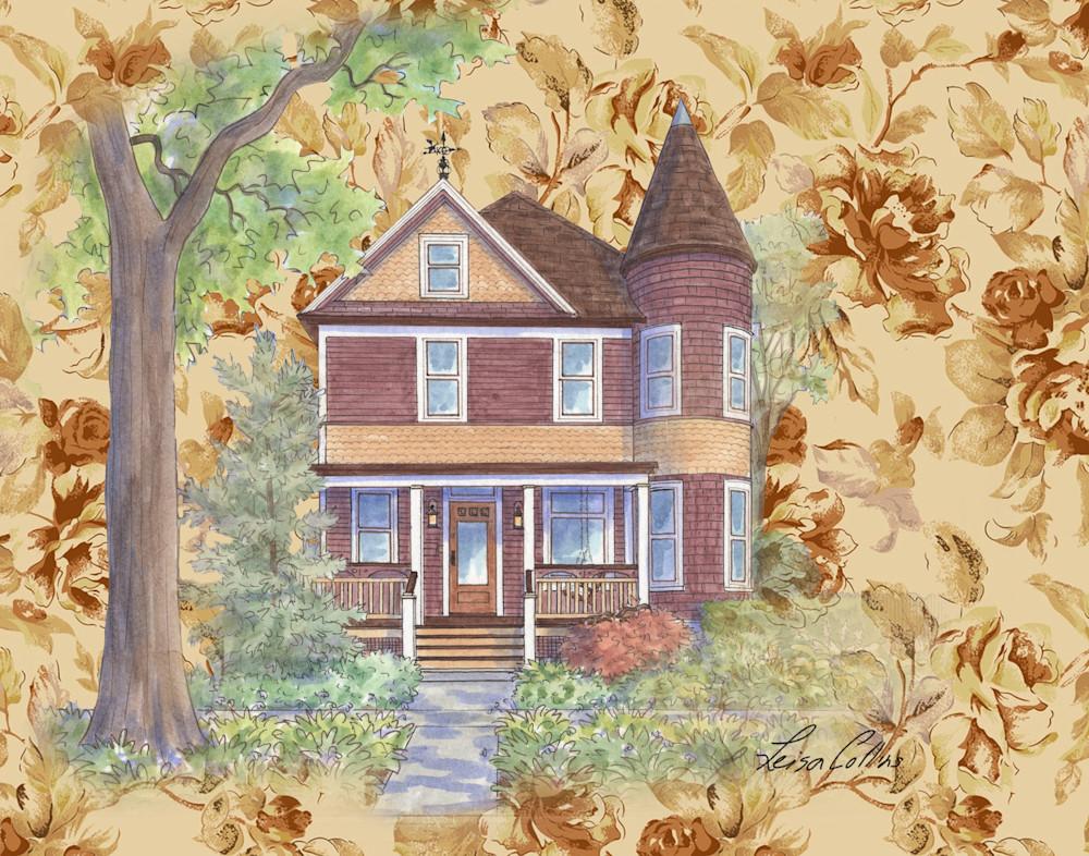 Golden Floral Queen Anne Collage Art   Leisa Collins Art
