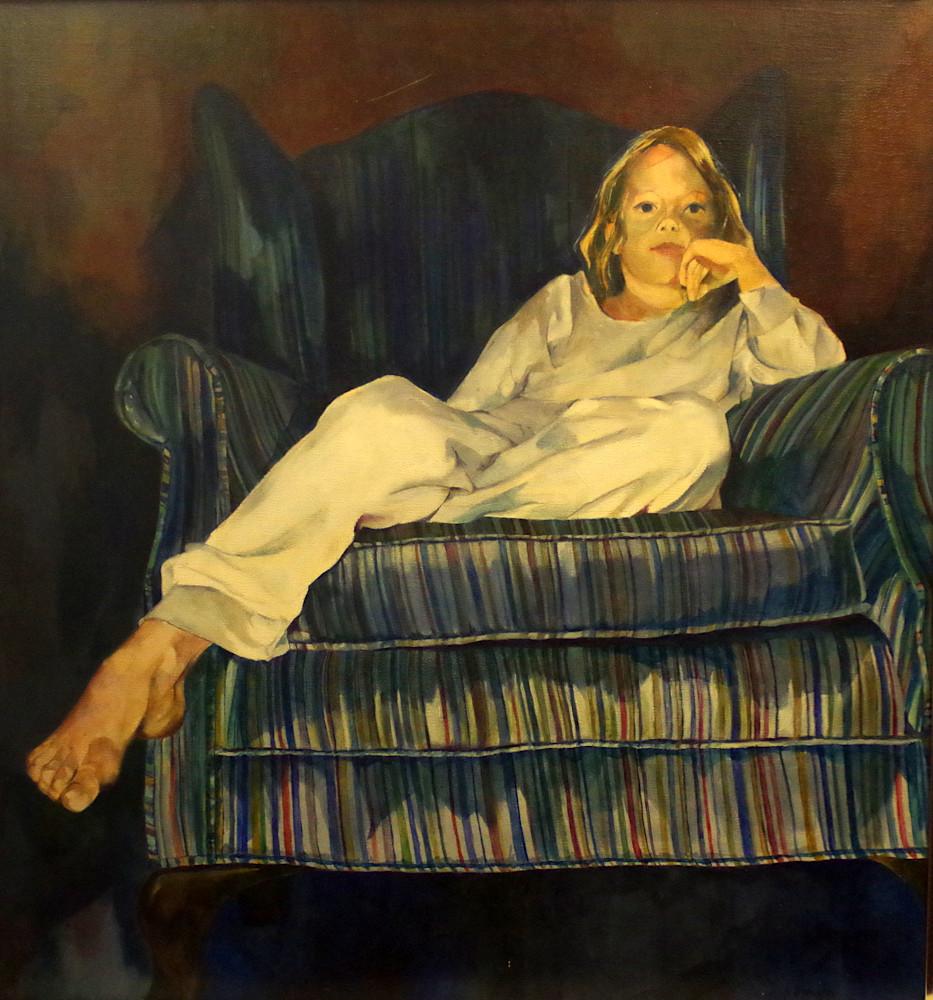 Anna In The Striped Chair Art | Helen Vaughn Fine Art