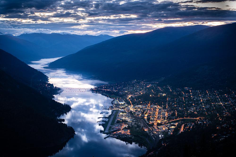 Dawn solstice sunrise over Nelson BC