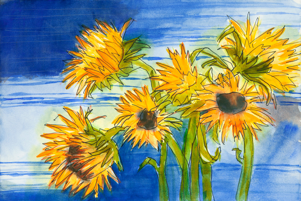 #3 Sunflowers At The Lake Art | Elaine Schaefer Hudson Art