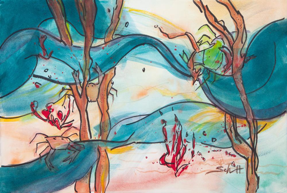 Blue Current Crabs Art | Elaine Schaefer Hudson Art