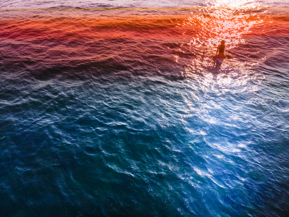 Surfing the Sunset, Aerial Beach Print, Beach Photography, Ocean print, coastal wall art, Los Angeles, Santa Monica, California