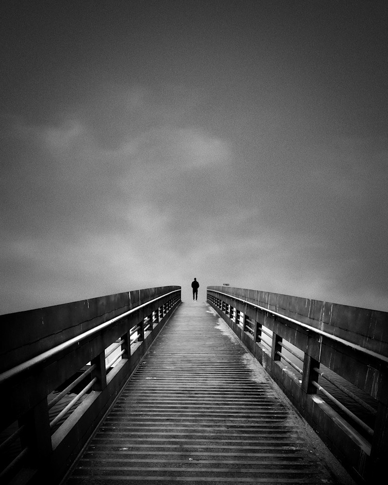 pier, abstract, black and white abstract photography, small person, man on pier, modern abstract art print, large modern wall art, pier photo,