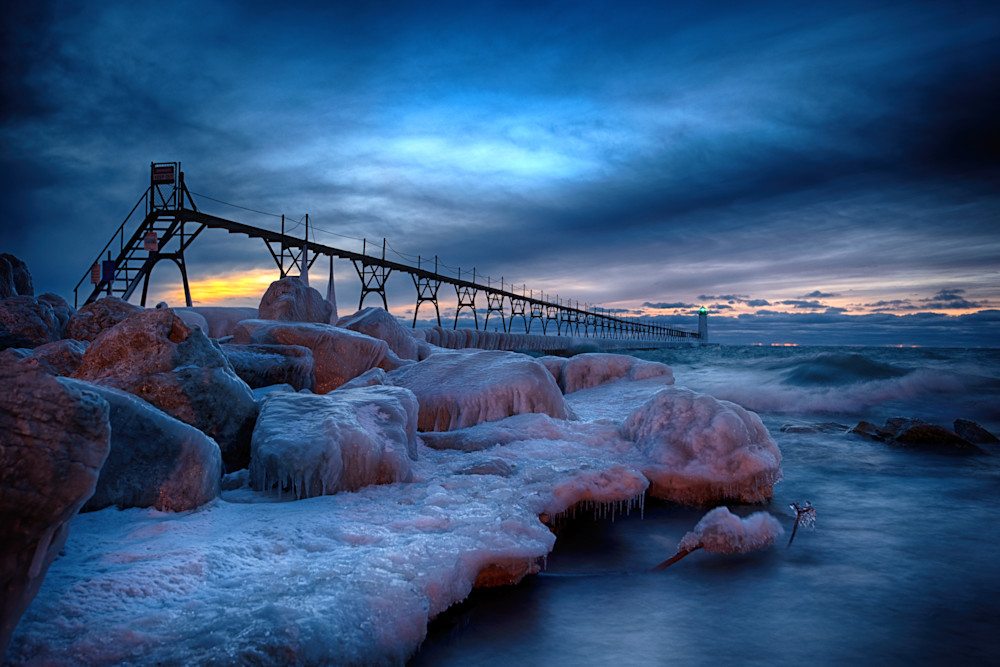 Manistee Lighthouse Icy Shore