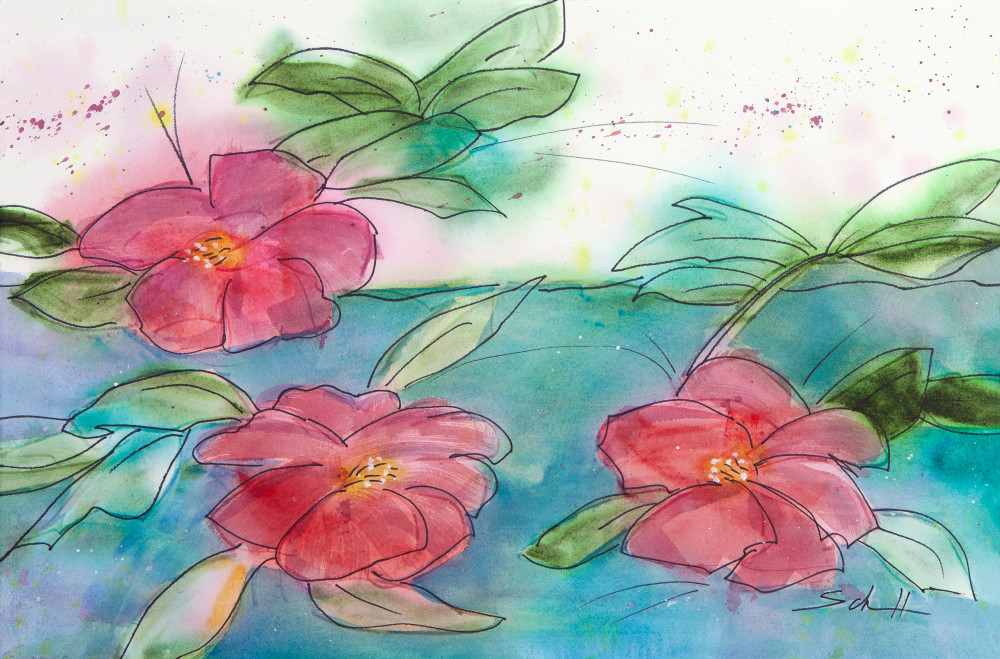 #10 Three Camellias Art | Elaine Schaefer Hudson Art