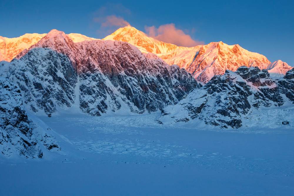 Sheldon ---timelapse of Denali at sunrise---- in the Ruth Glacier and Amphitheater in the Alaska Range.  Winter 2017     Photo by Jeff Schultz/SchultzPhoto.com  (C) 2017  ALL RIGHTS RESERVED