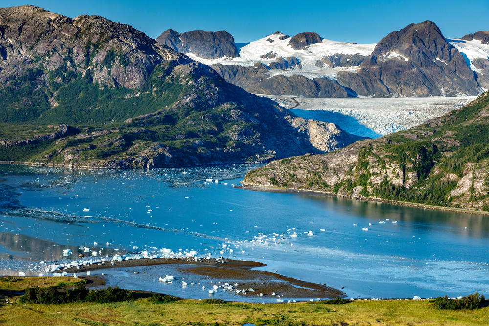 Summer landscape aerial view of Nellie Juan glacier with icebergs and Kenai Mountains in Prince William Sound in Southcentral, Alaska  Photo by Jeff Schultz/  (C) 2020  ALL RIGHTS RESERVED