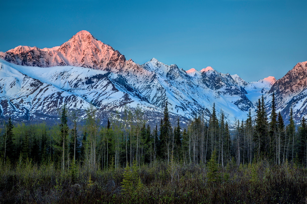 Spring landscape of sunrise alspenglow on snow-covered Chugach Mountains in the Glacier View Area of Matanuska Valley  Spring Southcentral, Alaska   Photo by Jeff Schultz (C) 2016  ALL RIGHTS RESERVED