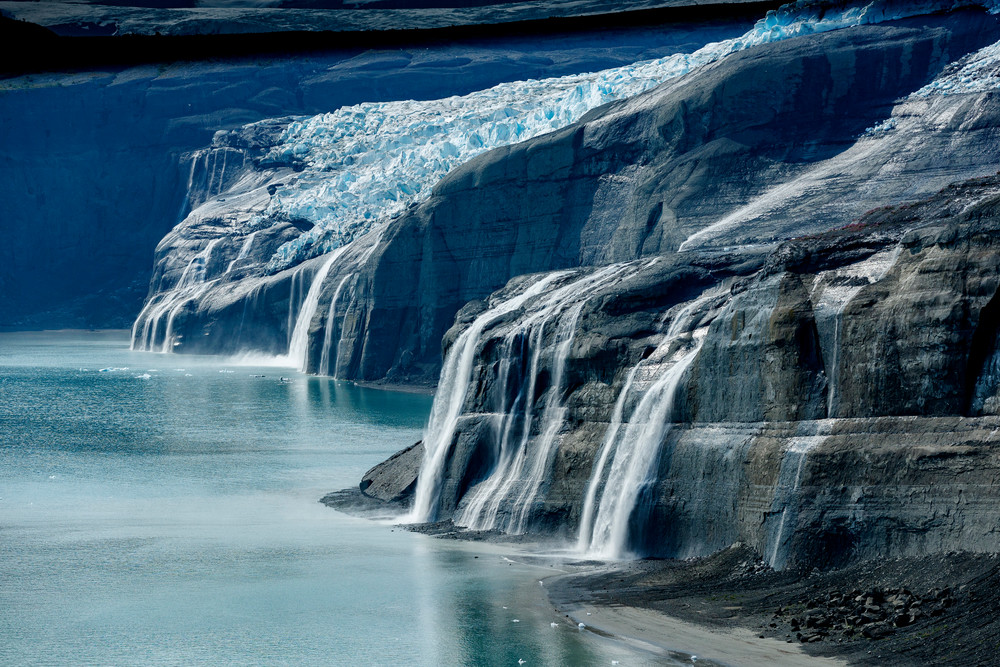 Waterfalls, ice and glaciers in Icy Bay in Wrangell-St. Elias National park, Alaska.  Summer  Photo by Jeff Schultz/  (C) 2020  ALL RIGHTS RESERVED