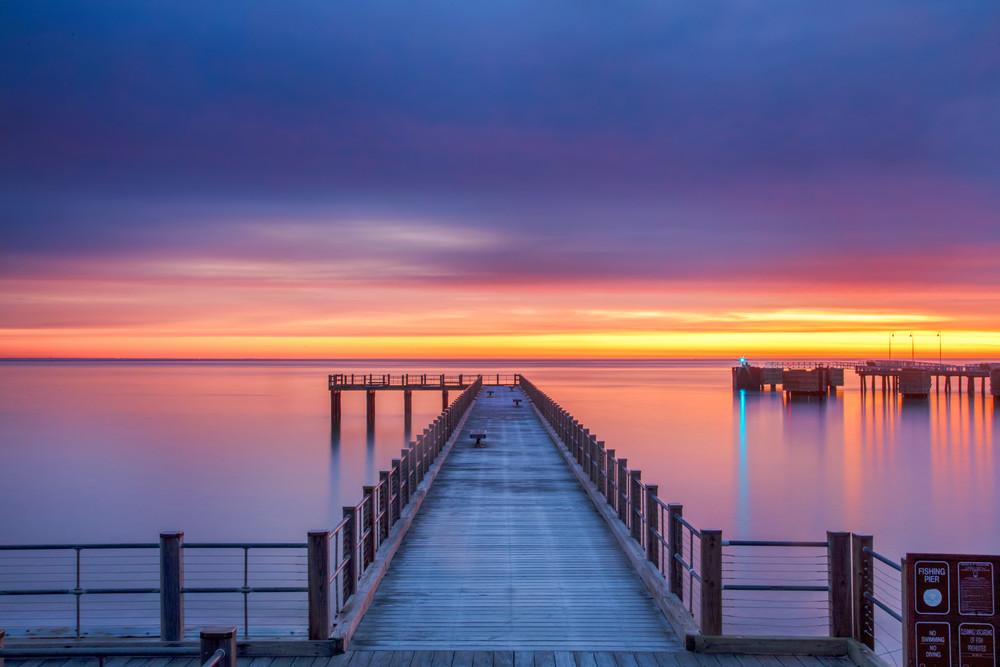 Fishing Pier Winter Sunrise Art   Michael Blanchard Inspirational Photography - Crossroads Gallery
