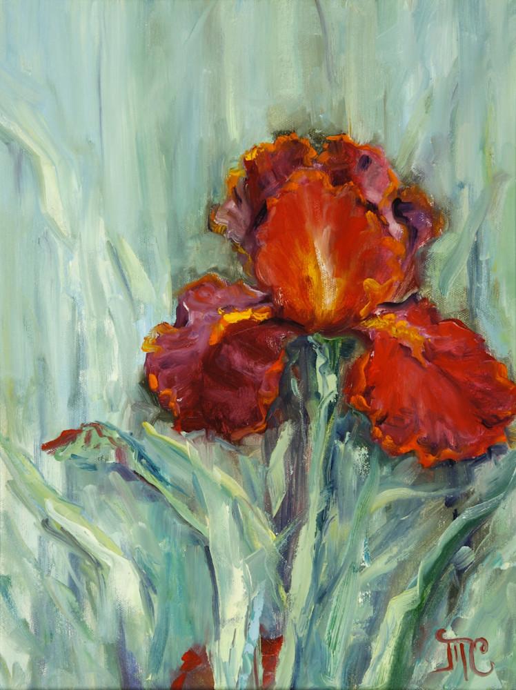 Red Iris Gold Art | Marsha Clements Art