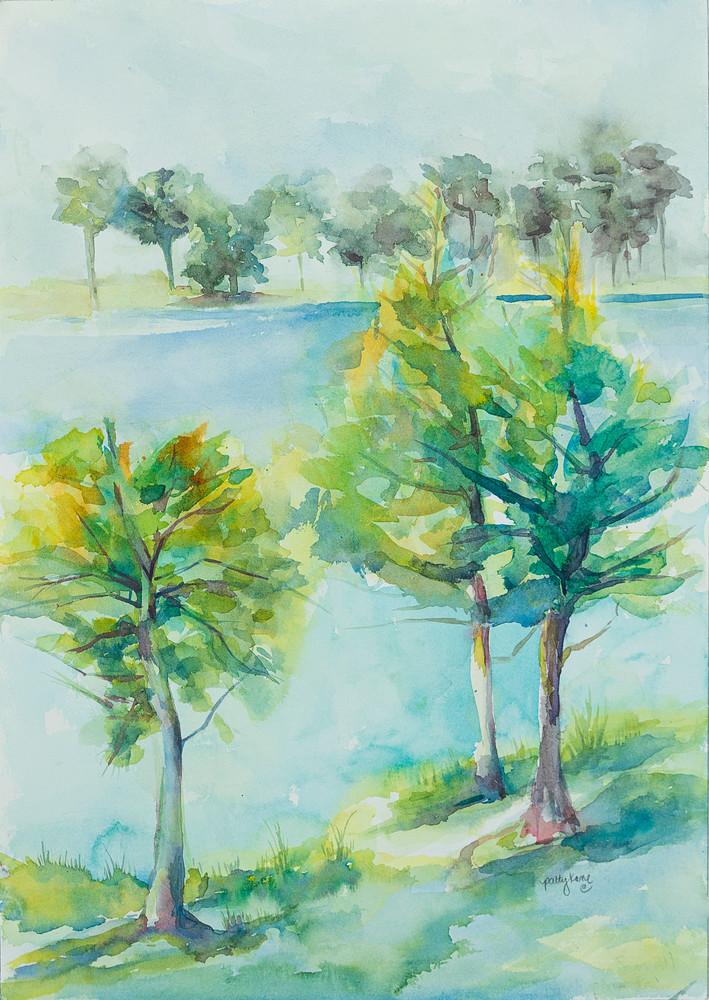 Lakeside Trees Art   ArtByPattyKane