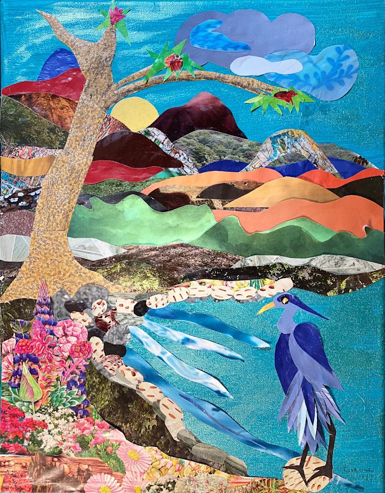 Heron In Paradise Art   Luanne C Brown
