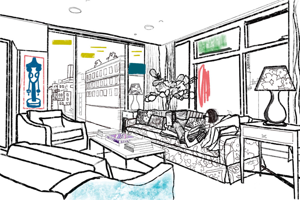 View City Apartment Art Books Drawing
