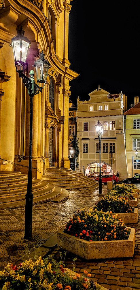 Flowers, Lamplight, And St. Nicholas Church   Prague Photography Art   Photoissimo - Fine Art Photography