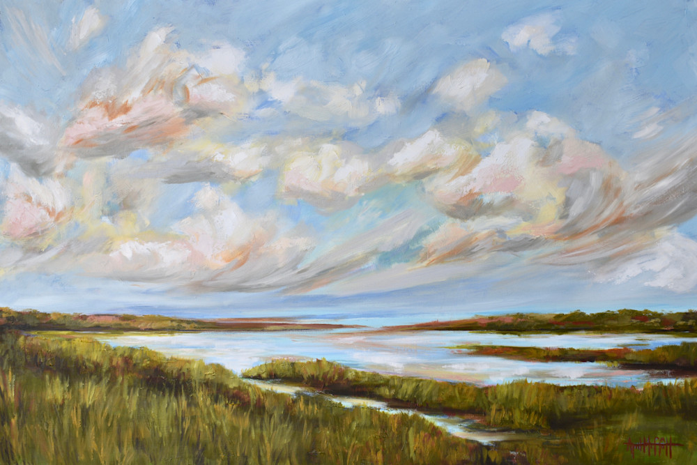 Giclee Print - Early Spring Clouds over the Waking Marsh- by April Moffatt