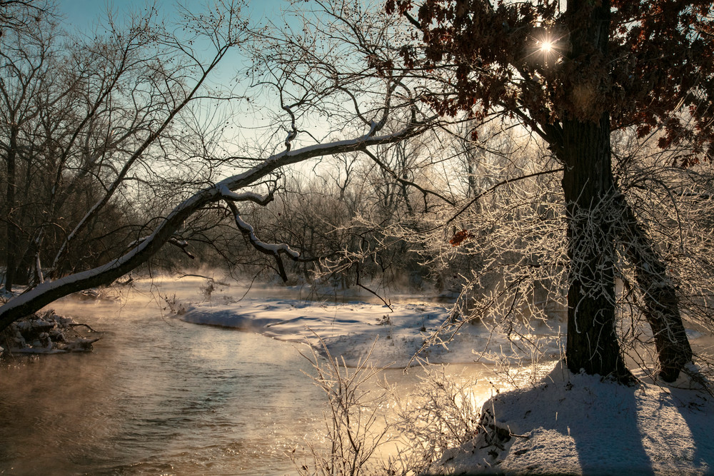 Steamy Sunrise With Sunburst Winter Morning On Spring River 3480 Art | Koral Martin Fine Art Photography