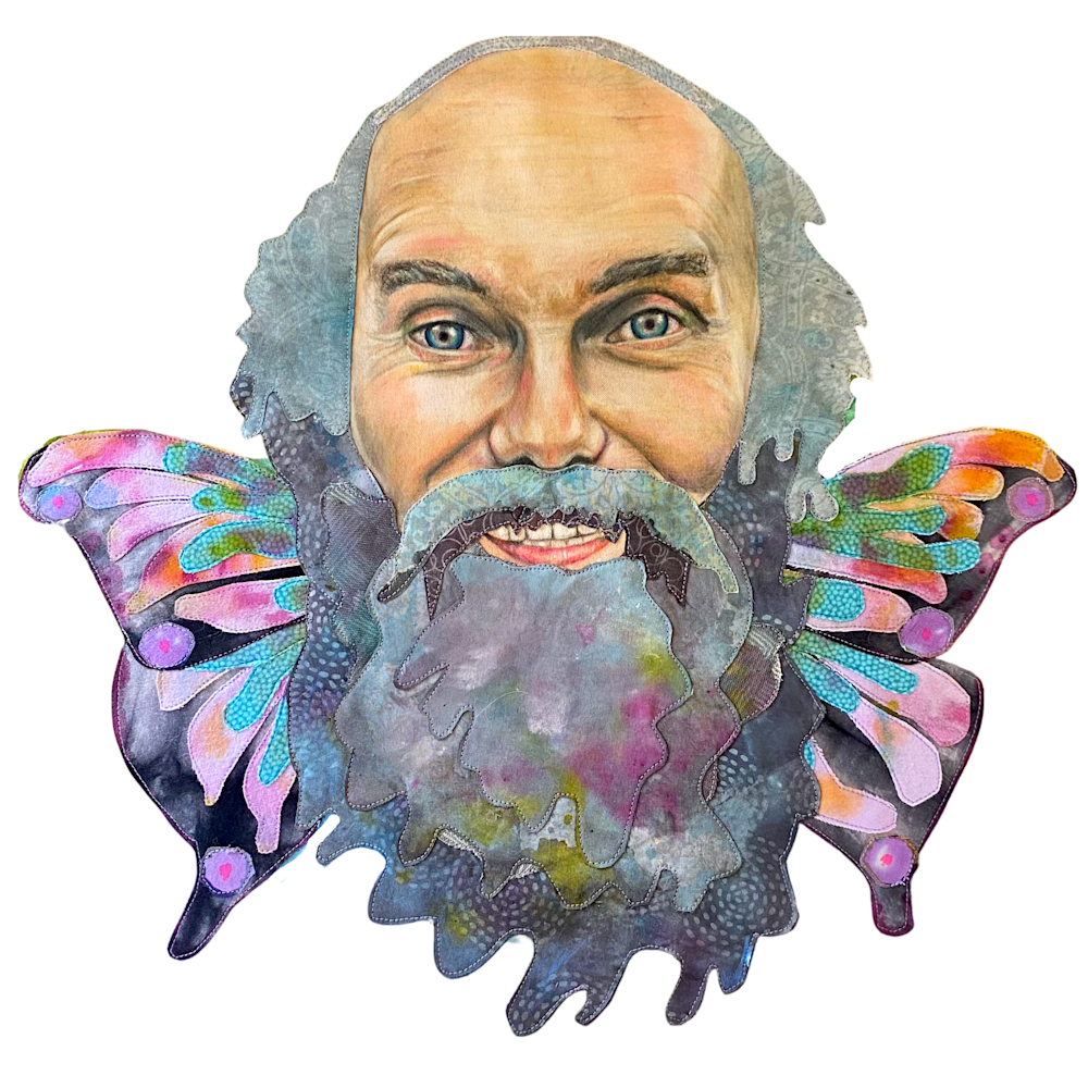 Baba Ram Dass with Butterfly Wings