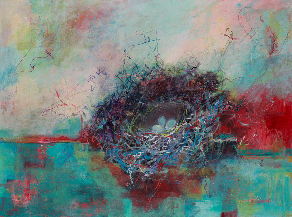 Return to Joy is another one of Laura McRae Hitchcock's beloved nest paintings.