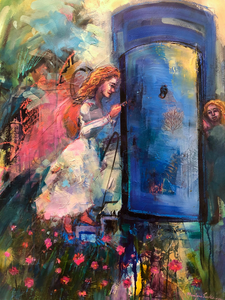 This is a high quality art print of Monique Sarkessian's original painting of  a young red haired woman unlocking ancient gates, blue portals to unlock her destiny.